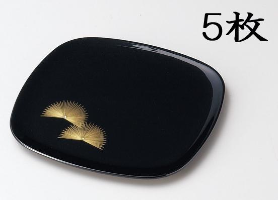 【送料無料】越前漆器 銘々皿 沈金松寿 胴張 (黒5枚) 906001 807503 (松屋漆器)
