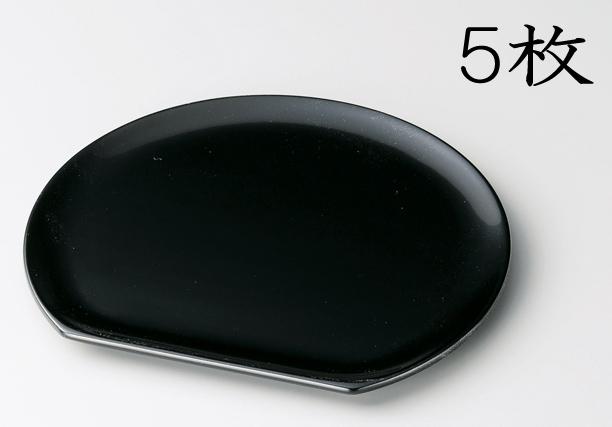 【送料無料】越前漆器 銘々皿 半月 黒 5枚(木質樹脂、うるし塗、漆塗) 906006 807507