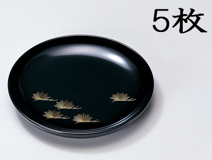 【送料無料】越前漆器 銘々皿 沈金松 黒 5枚(木製 うるし塗 漆塗) 906002 807508 (松屋漆器)