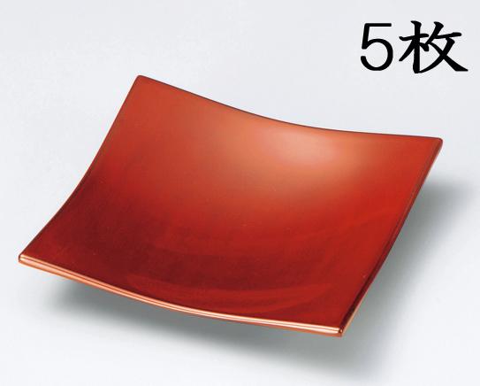 【送料無料】越前漆器 銘々皿 吹上 根来 5枚(木質樹脂 うるし塗 漆塗) 906101 807601 (松屋漆器)