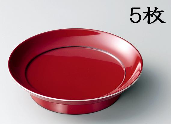 【送料無料】越前漆器 椿皿 銀彩 朱姝 5枚(木質樹脂、漆塗、うるし塗) 906102 807606 (松屋漆器)