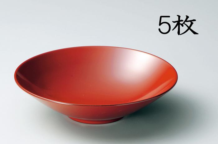越前漆器 万葉皿 古代朱 5枚(木質樹脂、漆塗、うるし塗) 906505 808201 (松屋漆器)