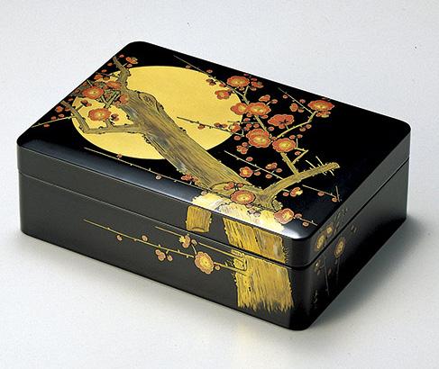 【送料無料】越前漆器 文庫 合口 月に紅梅 黒 912101(書類入れ 書類整理箱) (松屋漆器)