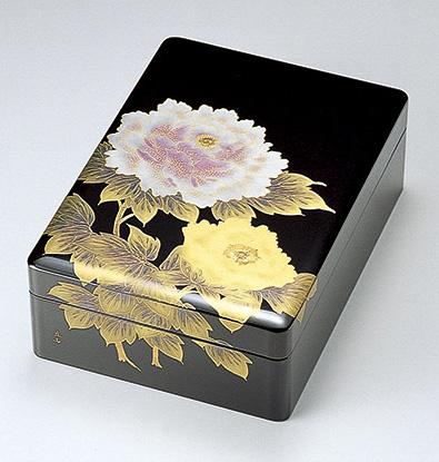 【送料無料】越前漆器 文庫 合口 富貴(牡丹) 黒 912103(書類入れ 書類整理箱) (松屋漆器)