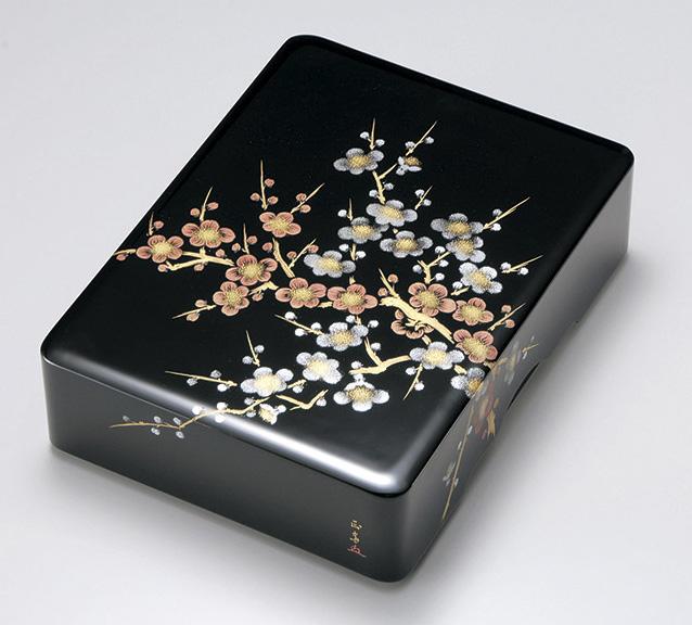 【送料無料】越前漆器 文庫 沈金紅白梅 文庫 黒 912201(書類入れ 書類整理箱) (松屋漆器)