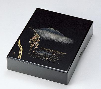 【送料無料】越前漆器 文庫 沈金故郷の詩 黒 912209(書類入れ 書類整理箱) (松屋漆器)