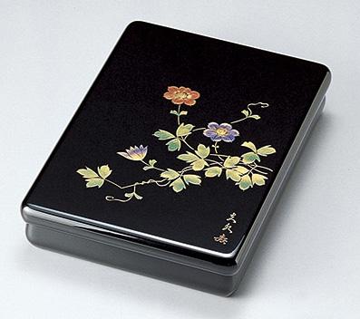 【送料無料】越前漆器 文庫 沈金鉄線 912308(書類入れ 書類整理箱) (松屋漆器)