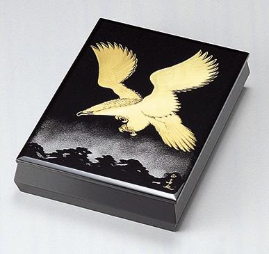 【送料無料】越前漆器 文庫 松に鷹 912309(書類入れ 書類整理箱) (松屋漆器)