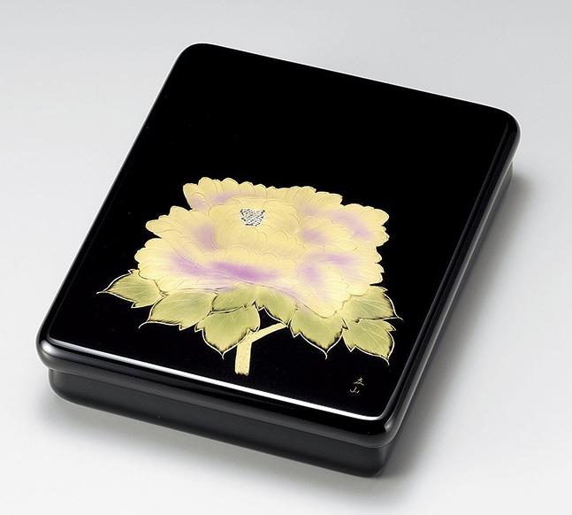 【送料無料】越前漆器 文庫 沈金牡丹 光琳 912401(書類入れ 書類整理箱) (松屋漆器)