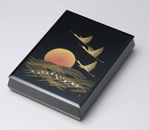 【送料無料】越前漆器 文庫 沈金日の出鶴 912402(書類入れ 書類整理箱) (松屋漆器)