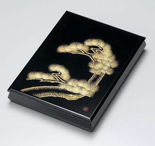 【送料無料】越前漆器 文庫 老松沈金 手許箱 912404(書類入れ 書類整理箱) (松屋漆器)