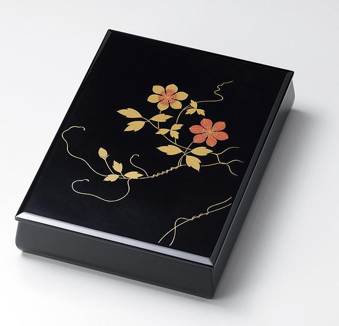 【送料無料】越前漆器 文庫 鉄線 板蓋 内梨地 912405(書類入れ 書類整理箱) (松屋漆器)