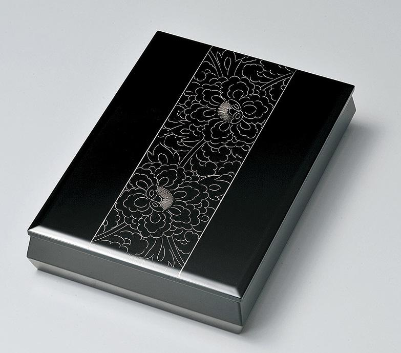 【送料無料】越前漆器 文庫 プラチナ牡丹彫 912408(書類入れ 書類整理箱) (松屋漆器)