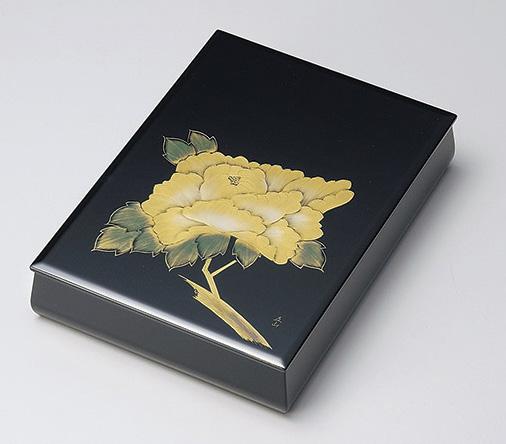 【送料無料】越前漆器 文庫 沈金牡丹 板蓋 内梨地 912409(書類入れ 書類整理箱) (松屋漆器)