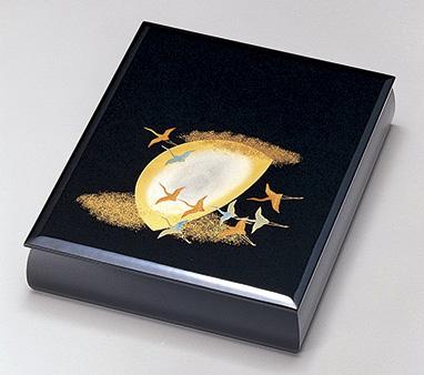 【送料無料】越前漆器 文庫 月に飛鶴 黒 912507(書類入れ 書類整理箱) (松屋漆器)