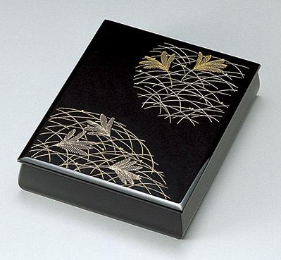 【送料無料】越前漆器 文庫 武蔵野 黒 912508(書類入れ 書類整理箱) (松屋漆器)