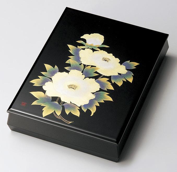 【送料無料】越前漆器 文庫 牡丹沈金 板蓋 912303(書類入れ 書類整理箱) (松屋漆器)