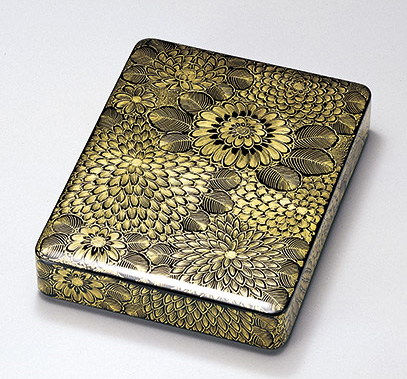 【送料無料】越前漆器 菊総彫 硯箱 912602(書類入れ 書類整理箱) (松屋漆器)
