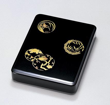 【送料無料】越前漆器 花丸 硯箱 黒 912604(書類入れ 書類整理箱) (松屋漆器)