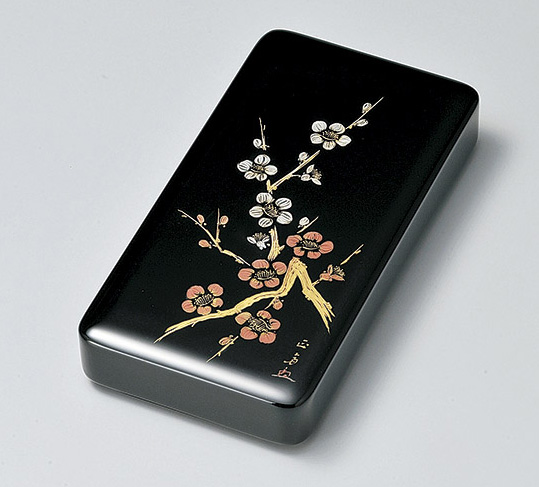 【送料無料】越前漆器 沈金紅白梅 硯箱 黒 912607(書類入れ 書類整理箱) (松屋漆器)