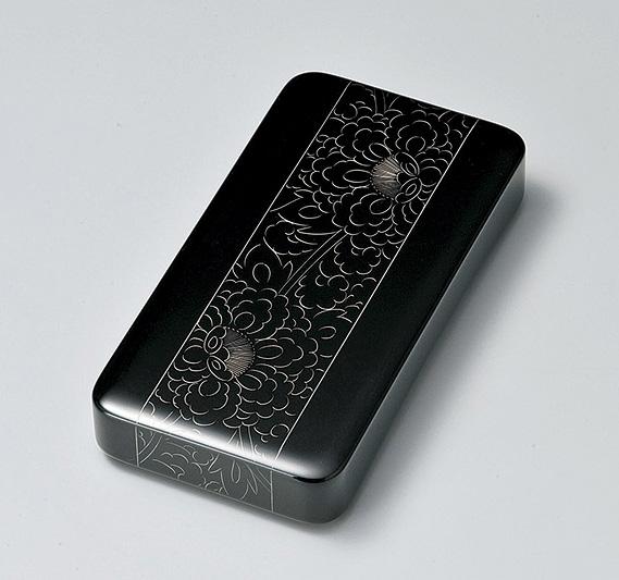 【送料無料】越前漆器 プラチナ牡丹彫 硯箱 黒 912608(書類入れ 書類整理箱) (松屋漆器)