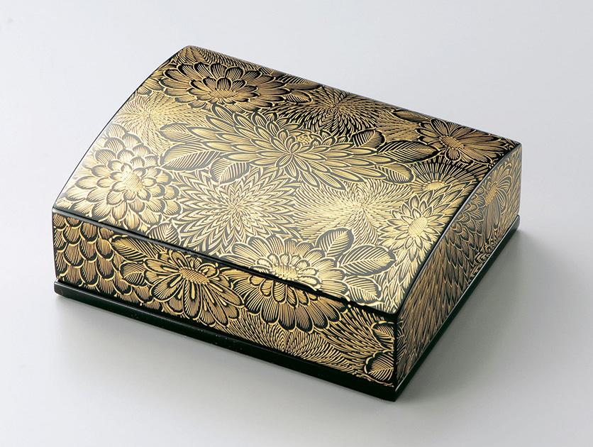 【送料無料】越前漆器 名刺箱 沈金菊彫(大)黒 911301 (名刺入れ 小物入れ) (松屋漆器)