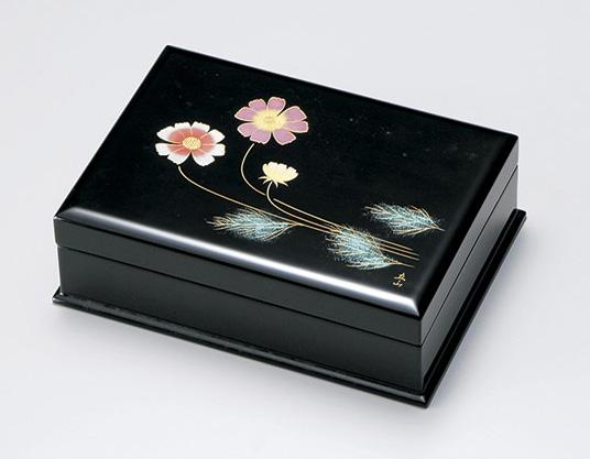 【送料無料】越前漆器 名刺箱 コスモス沈金 宝石箱 911303 (名刺入れ 小物入れ) (松屋漆器)