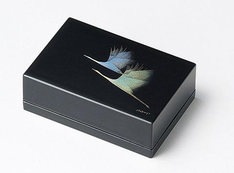 【送料無料】越前漆器 名刺箱 鶴 黒 911503 (名刺入れ 小物入れ) (松屋漆器)