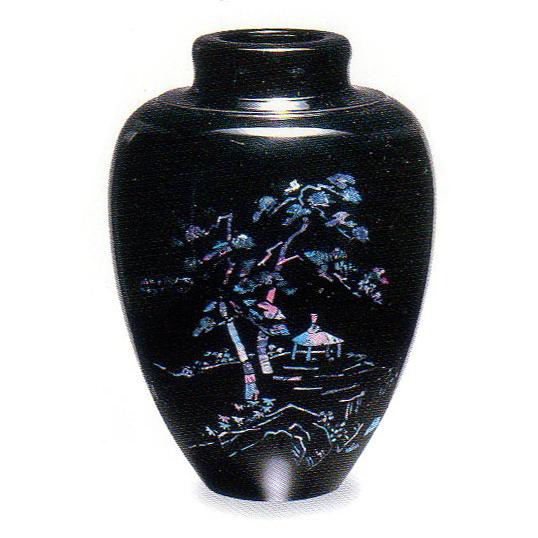 紀州漆器 花瓶 山水 貝貼 211005(花生)