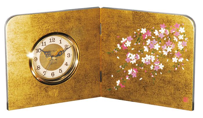 紀州漆器 木製 屏風時計 金箔貼 しだれ桜 22865/21946