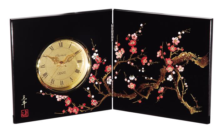 紀州漆器 木製 屏風時計 香林(小) 22863/21943