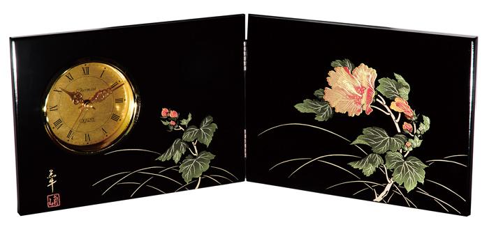 紀州漆器 木製 屏風時計 紀の花(大)22861/21941