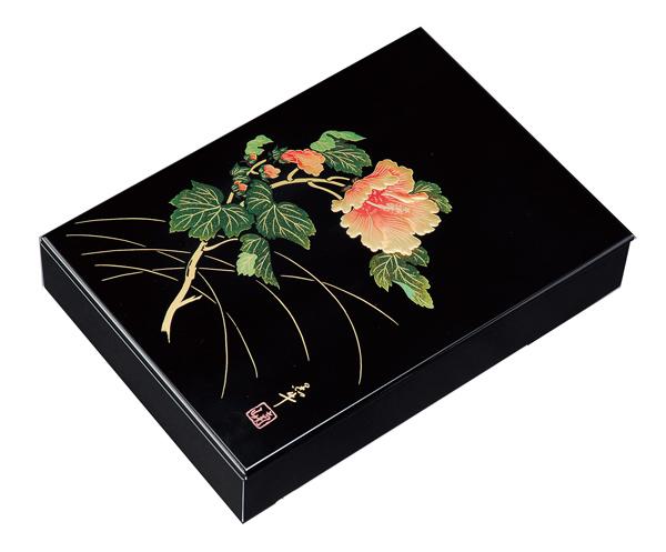 紀州漆器 木製 板蓋文庫 11.0 黒 紀の花A4判 22754/21814(書類入れ 書類整理箱)
