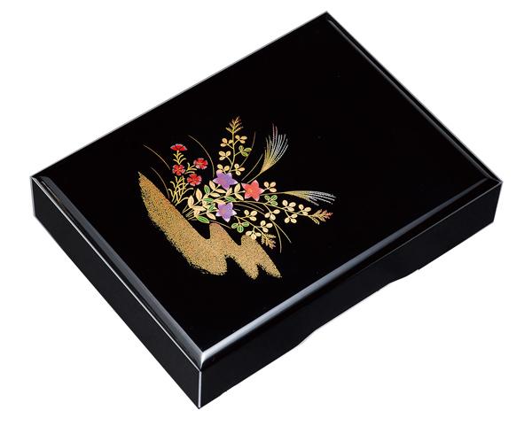 紀州漆器 木製 加伏文庫 1 1.0 黒 秋草A4判 21819(書類入れ 書類整理箱)