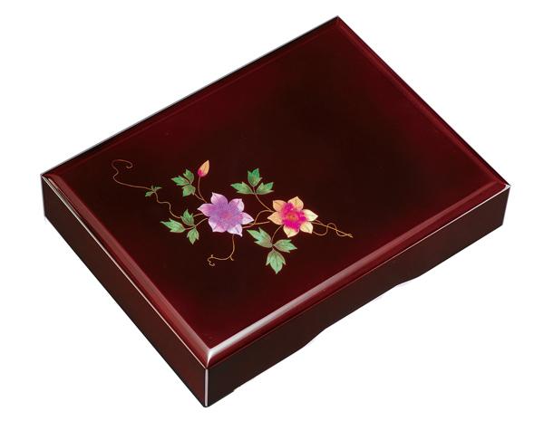 紀州漆器 木製 加伏文庫 1 1.0 溜 鉄仙A4判 21818(書類入れ 書類整理箱)