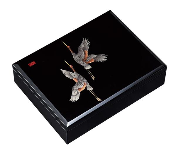 紀州漆器 木製 合口文庫 10.0 黒 万葉鶴 22752/21823(書類入れ 書類整理箱)