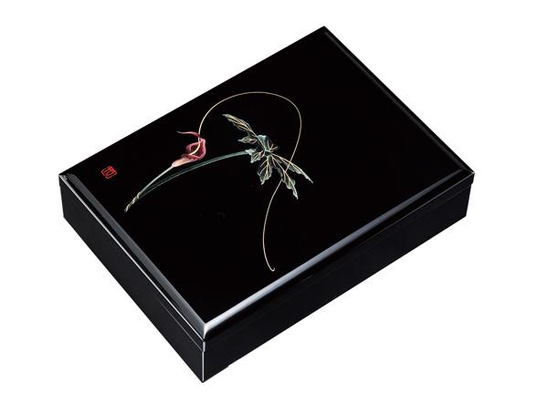 紀州漆器 木製 合口文庫 10.5 黒 浦島草A4判 22746/21822(書類入れ 書類整理箱)