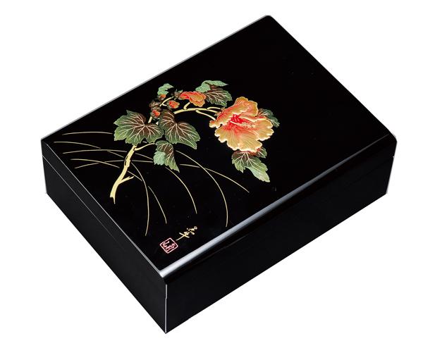 紀州漆器 木製 合口文庫 11.0 黒 紀の花 22741/21811(書類入れ 書類整理箱)