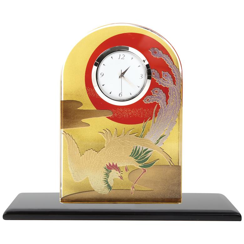 蒔絵 ガラス置き時計 鳳凰 (化粧箱入り)