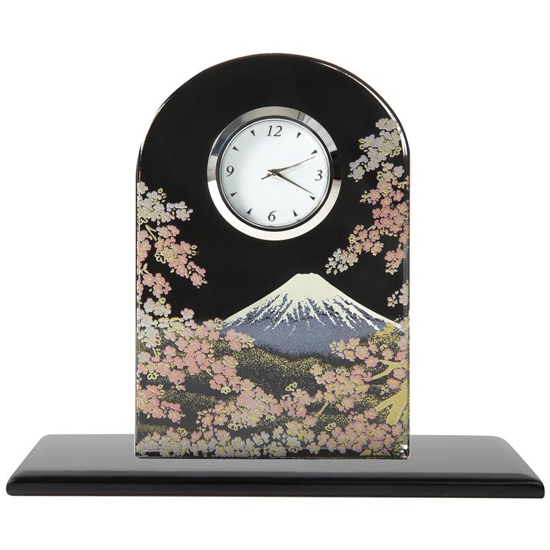 蒔絵 ガラス置き時計 富士に桜 (化粧箱入り)