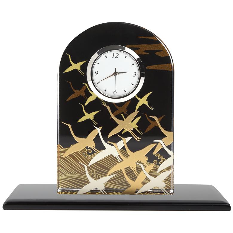 蒔絵 ガラス置き時計 波に鶴 (化粧箱入り)