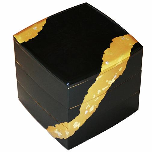 山中漆器 6.5寸 胴張三段重 溜塗 金雲 001-1433(漆器 日本製 国産 運動会 迎春(お正月) お花見 行楽 弁当箱) 【送料無料】