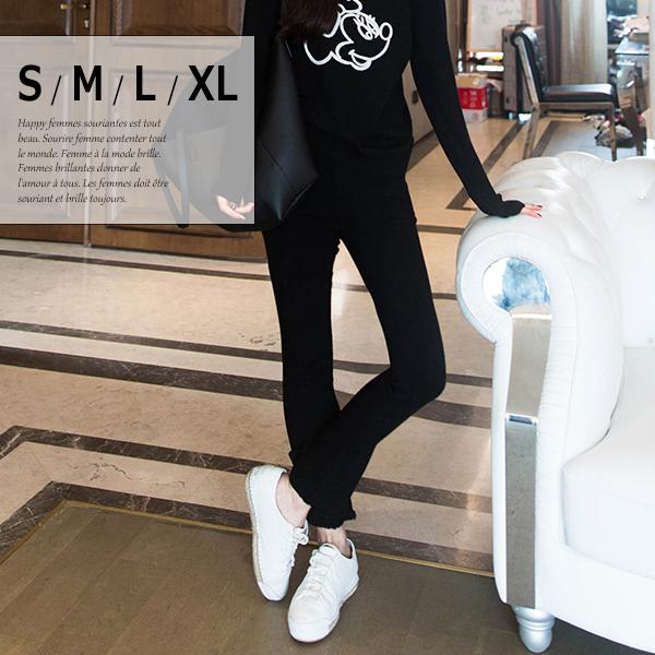 履き心地、大満足! ストレッチ素材 ゴムウエスト 切りっぱなし裾 パンツ レディース パンツ ズボン ボトムス ブラック 小さいサイズ 大きいサイズ S M L XL 在庫わずか