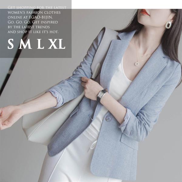 きれい色 テーラードジャケット ジャケット レディース 春 通勤 長袖 ブルー 小さいサイズ 大きいサイズ S M L XL △△