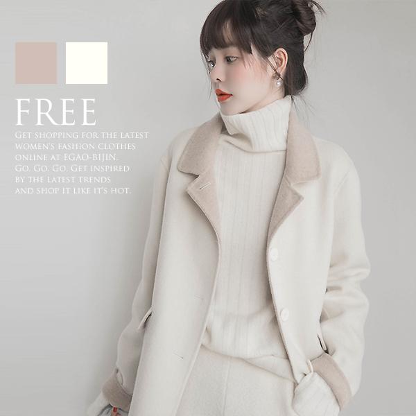 ウール アルパカ 2枚合わせ バイカラー ミディアム丈 ステンカラーコート コート レディース 冬 アウター ベージュ オフホワイト フリーサイズ 在庫わずか