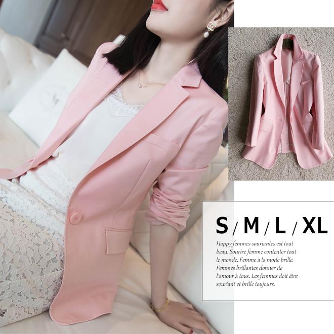 きれいなピンク色☆ ステッチデザイン テーラードジャケット レディース春 夏 ジャケット 小さいサイズ 大きいサイズ S.M.L.XL □□□