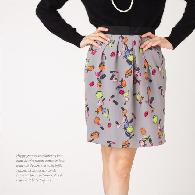 在庫限り 閉店売尽しセール 3 980円以上で送料無料 閉店セール メーカー再生品 売切り価格 リップ柄チューリップスカート 上品 柄物 スカート ひざ丈スカート レディース