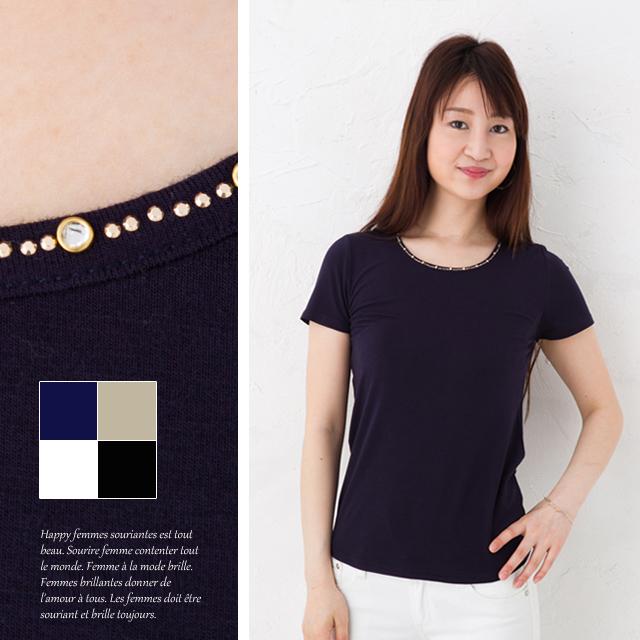 一粒ダイヤのネックレスを付けたような大人っぽいシンプルTシャツ半袖 メーカー公式ショップ 無地 ラインストーン ビジュー モデル着用&注目アイテム 810 トップス レディース