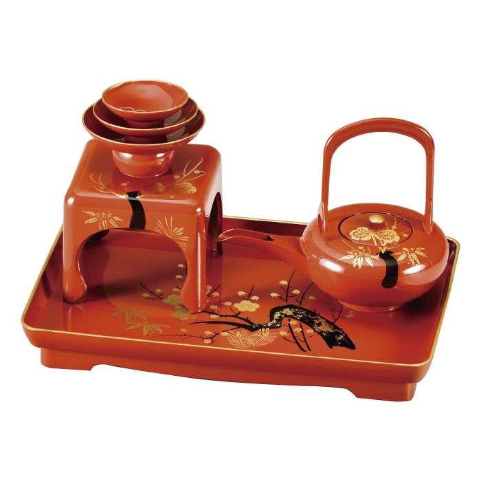 福島県会津地方に伝わる伝統工芸品です 20-79-3 洗朱 松竹梅 通信販売 屠蘇器 豊富な品
