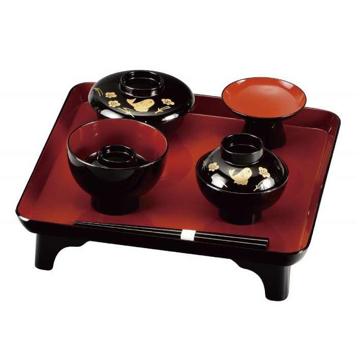 ◆セール特価品◆ 公式通販 福島県会津地方に伝わる伝統工芸品です 20-89-9 黒 喰初セット 鯛
